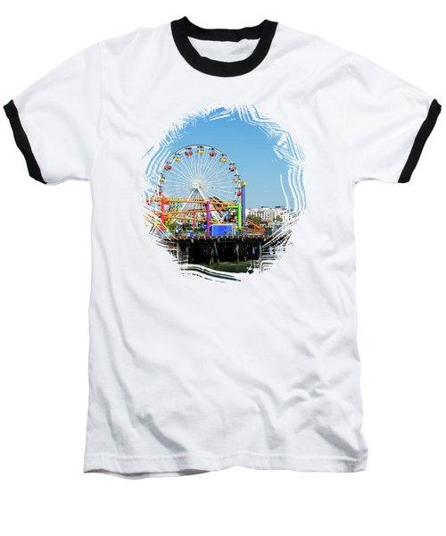 Santa Monica Ferris Wheel Baseball T-Shirt
