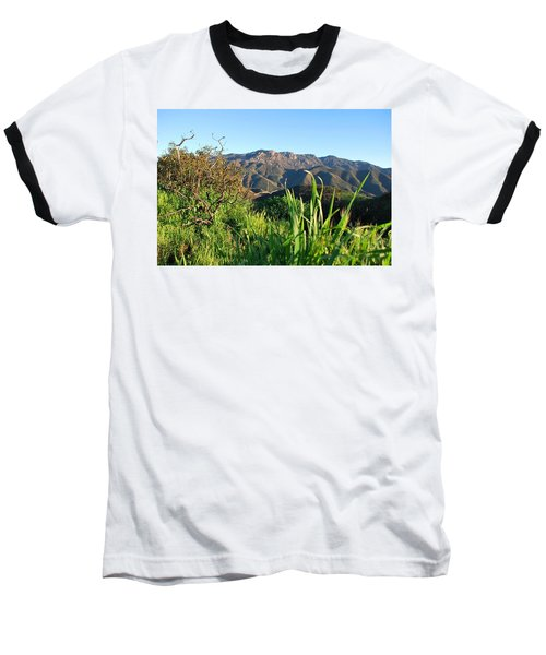 Santa Monica Mountains Green Landscape Baseball T-Shirt