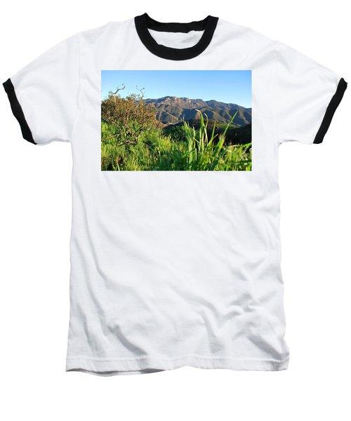 Santa Monica Mountains Green Landscape Baseball T-Shirt
