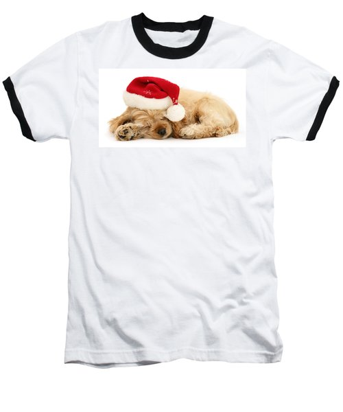Santa's Sleepy Spaniel Baseball T-Shirt