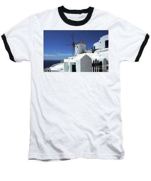 Santorini Greece Architectual Line 5 Baseball T-Shirt by Bob Christopher