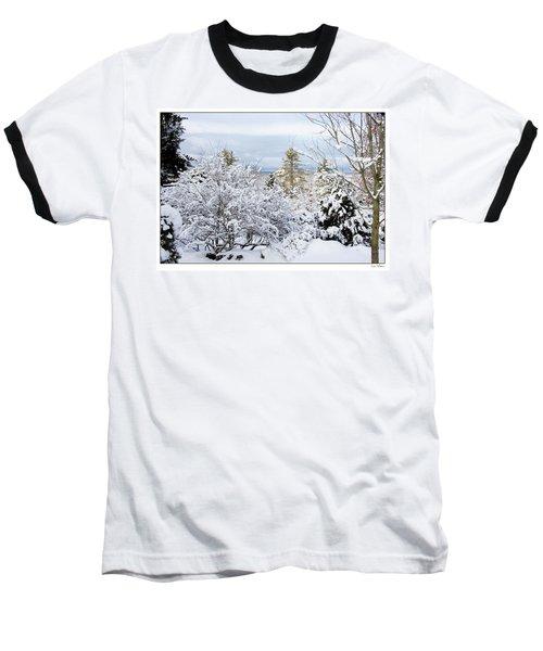 Saratoga Winter Scene Baseball T-Shirt by Lise Winne