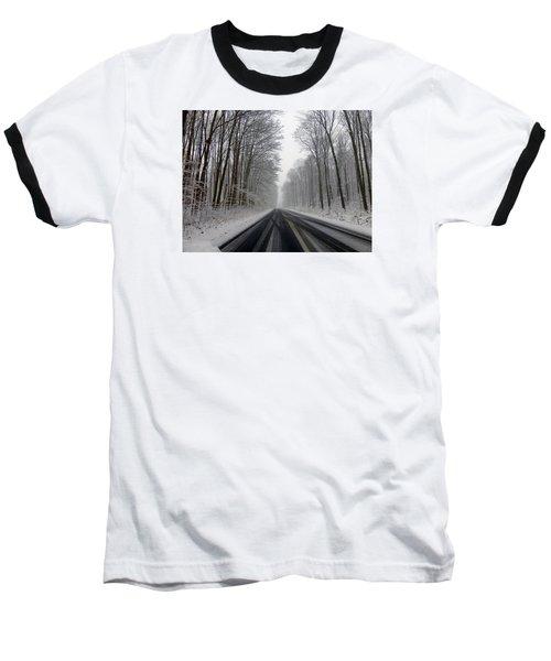 Saturday First Snow Of 2015 Baseball T-Shirt by Tina M Wenger