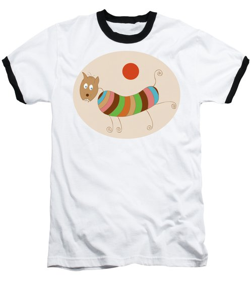 Sausage Dog In Ketchup Sunset Baseball T-Shirt by Frank Tschakert