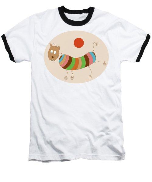 Sausage Dog In Ketchup Sunset Baseball T-Shirt