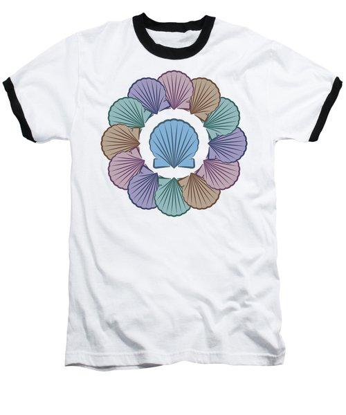 Scallop Shells Circle Multi Color Baseball T-Shirt
