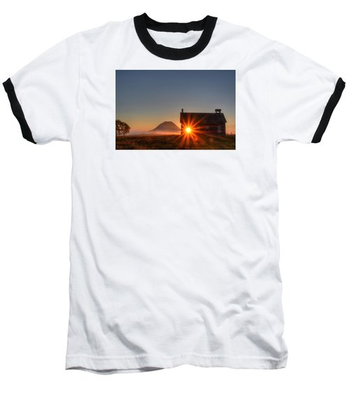 Schoolhouse Sunburst Baseball T-Shirt by Fiskr Larsen