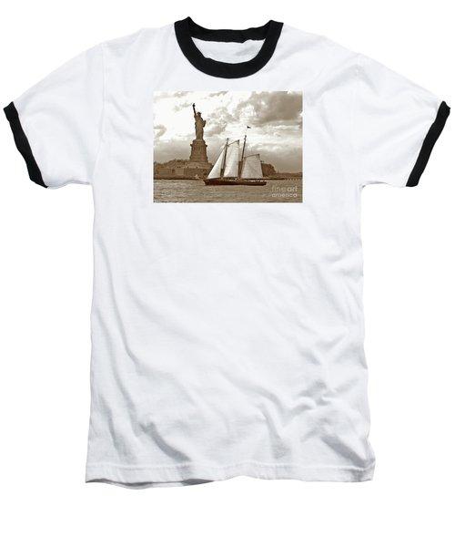 Schooner At Statue Of Liberty Twurl Baseball T-Shirt by Tom Wurl