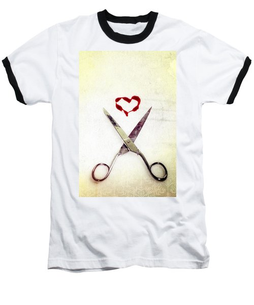 Scissors And Heart Baseball T-Shirt