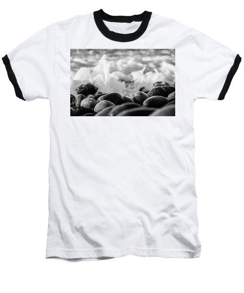 Sea Foam B-w Baseball T-Shirt by Sergey Simanovsky