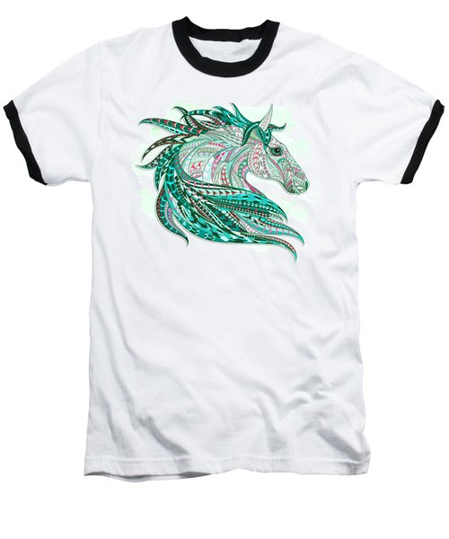 Sea Green Ethnic Horse Baseball T-Shirt