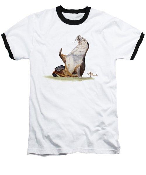 Sea Lion Watercolor II Baseball T-Shirt
