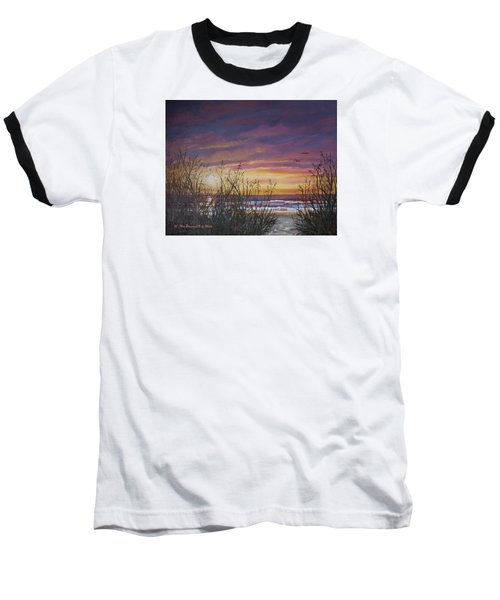 Baseball T-Shirt featuring the painting Sea Oat Sunrise # 3 by Kathleen McDermott