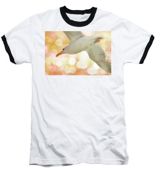 Seagull On Pink And Yellow Sky Baseball T-Shirt