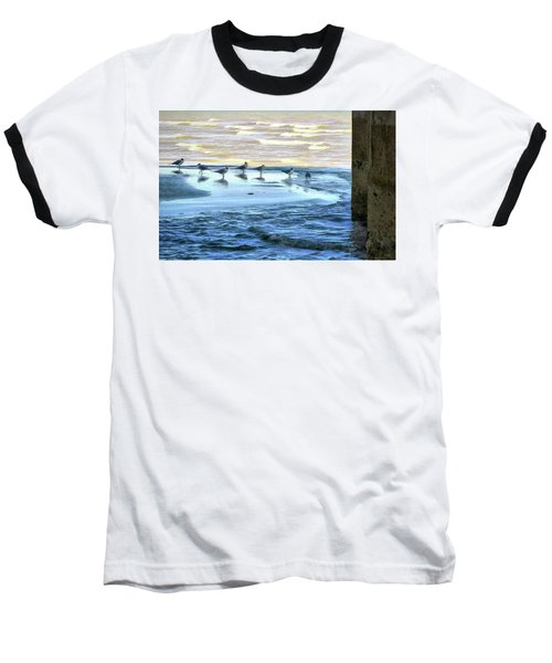 Seagulls At Waters Edge Baseball T-Shirt by Cedric Hampton
