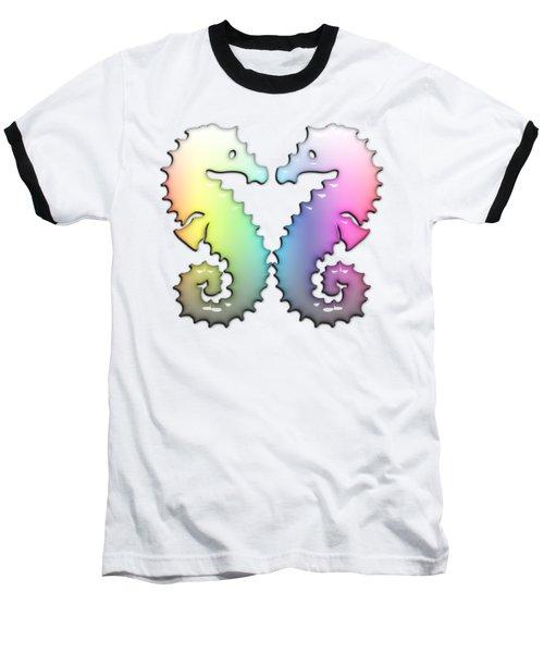 Seahorse Tango Soft Rainbow Drops Baseball T-Shirt by Di Designs