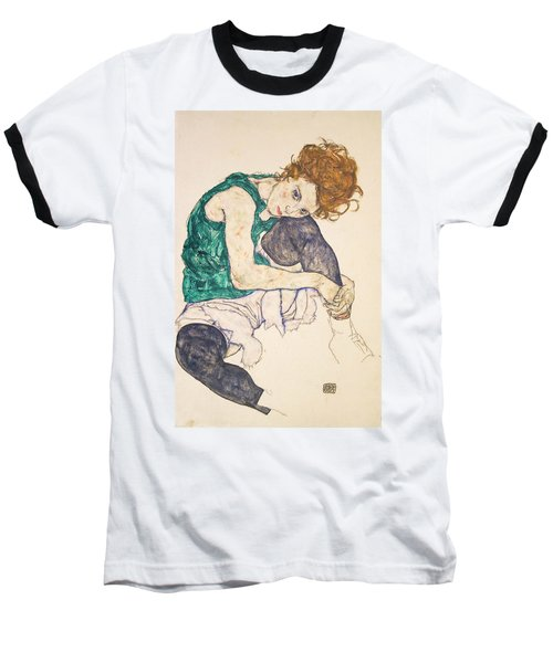Seated Woman With Legs Drawn Up Baseball T-Shirt