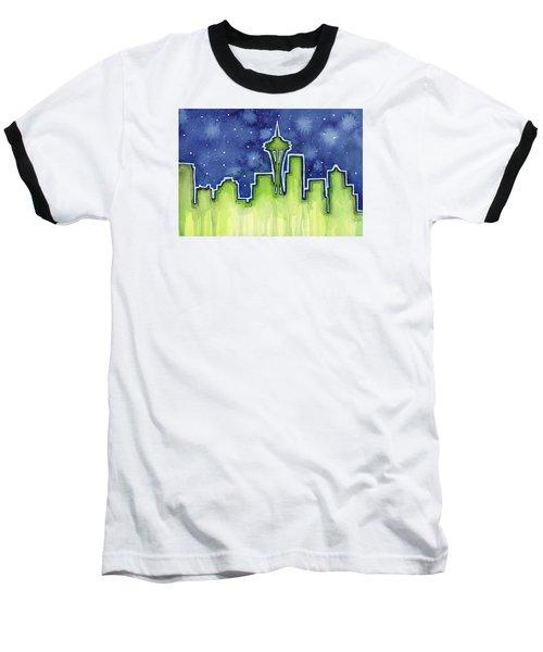 Seattle Night Sky Watercolor Baseball T-Shirt by Olga Shvartsur