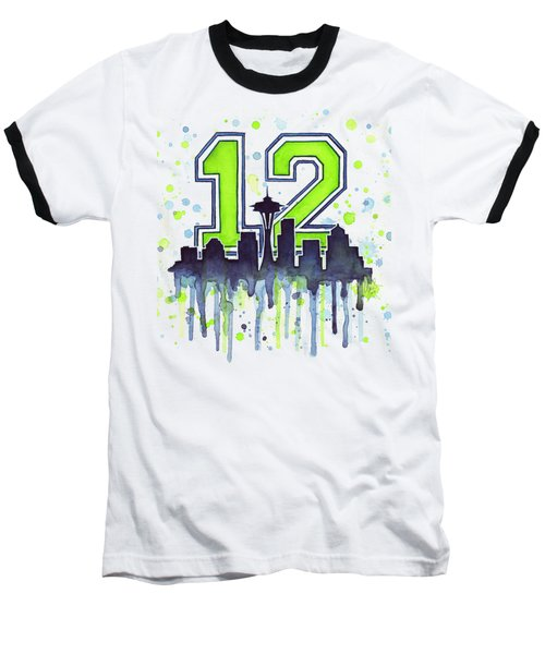 Seattle Seahawks 12th Man Art Baseball T-Shirt by Olga Shvartsur