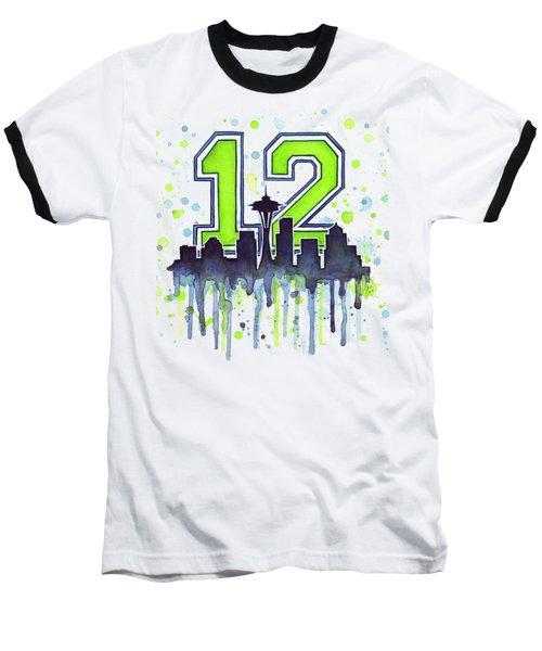 Seattle Seahawks 12th Man Art Baseball T-Shirt by Olga Shvartsur