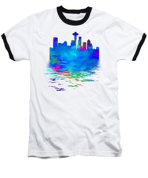 Seattle Skyline, Blue Tones On White Baseball T-Shirt by Pamela Saville