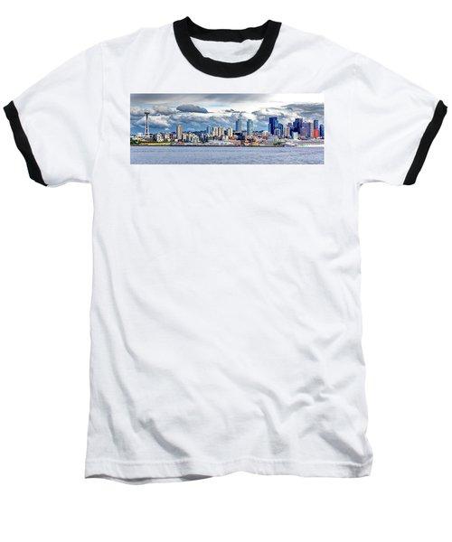 Seattle Skyline Hdr Baseball T-Shirt