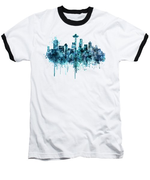 Seattle Skyline Monochrome Watercolor Baseball T-Shirt by Marian Voicu