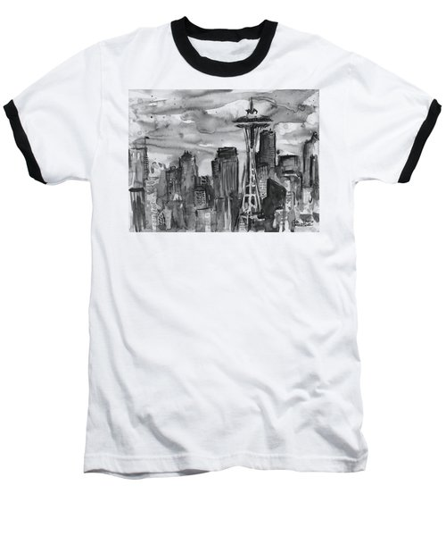 Seattle Skyline Space Needle Baseball T-Shirt
