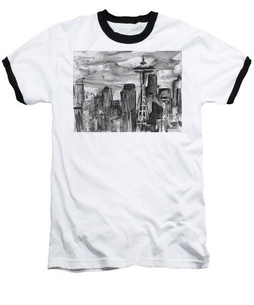 Seattle Skyline Space Needle Baseball T-Shirt