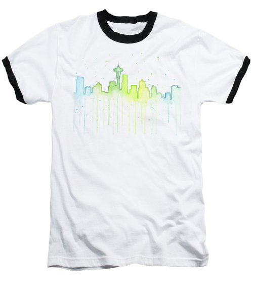 Seattle Skyline Watercolor  Baseball T-Shirt