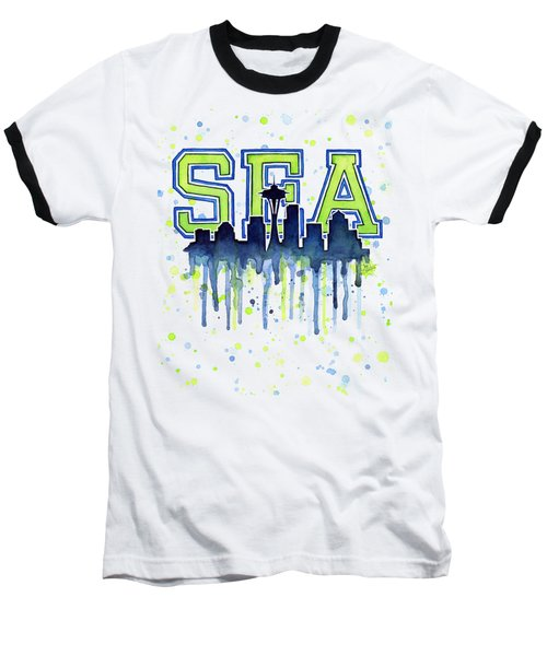 Seattle Watercolor 12th Man Art Painting Space Needle Go Seahawks Baseball T-Shirt by Olga Shvartsur