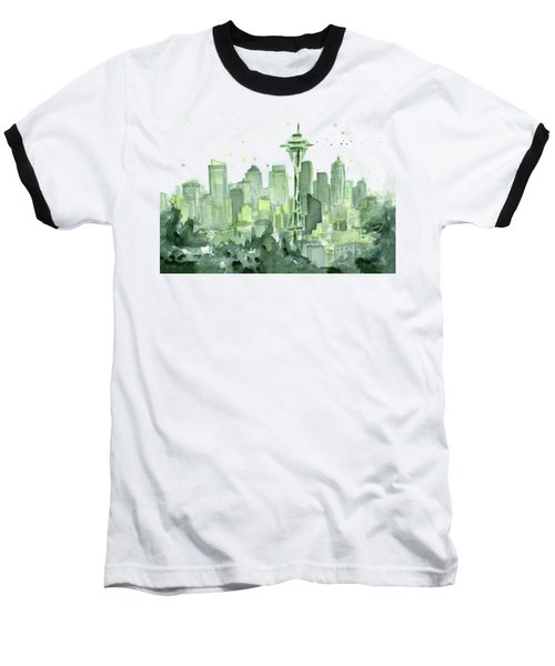 Seattle Watercolor Baseball T-Shirt by Olga Shvartsur
