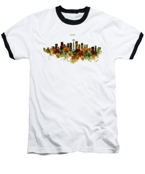 Baseball T-Shirt featuring the mixed media Seattle Watercolor Skyline Poster by Marian Voicu