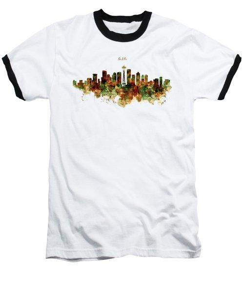 Seattle Watercolor Skyline Poster Baseball T-Shirt