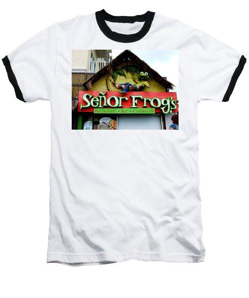 Senor Frogs Baseball T-Shirt by Michiale Schneider