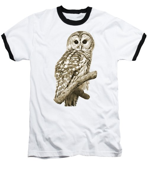 Sepia Owl Baseball T-Shirt by Christina Rollo