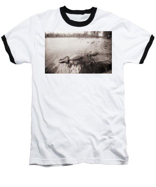 Sepia Swans Baseball T-Shirt