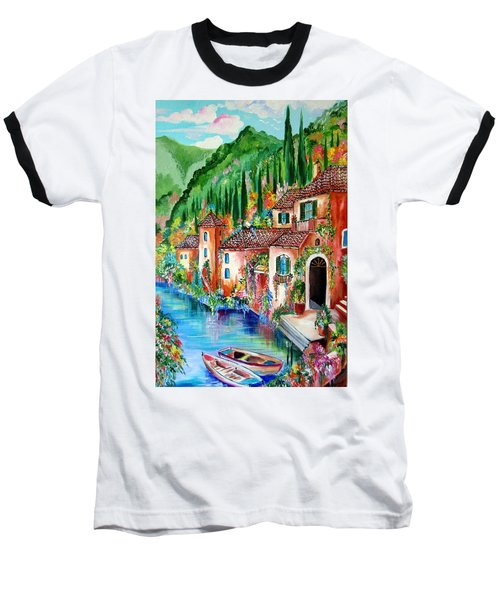 Baseball T-Shirt featuring the painting Serenity By The Lake by Roberto Gagliardi