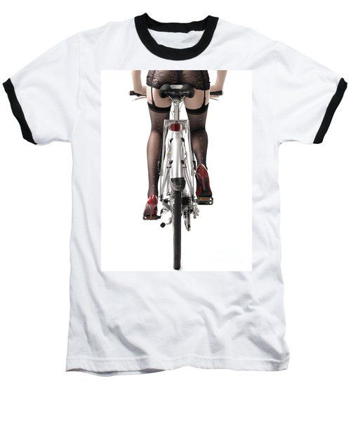 Sexy Woman Riding A Bike Baseball T-Shirt