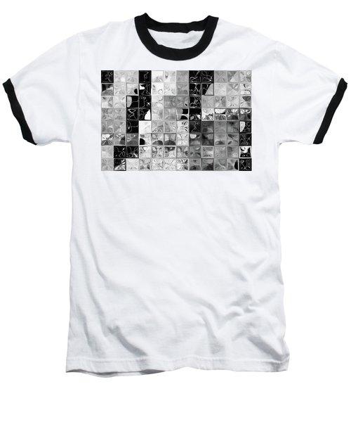 Shades Of Gray Tile Mosaic. Tile Art Painting Baseball T-Shirt