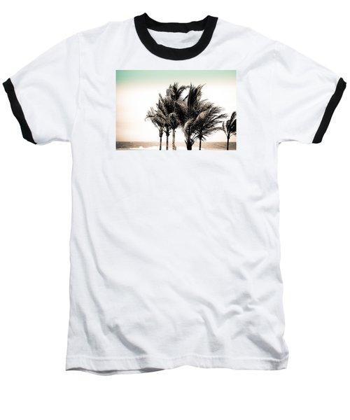 Shades Of Palms - Aqua Brown Baseball T-Shirt by Colleen Kammerer
