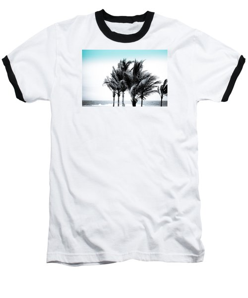 Shades Of Palms - Silver Blue Baseball T-Shirt by Colleen Kammerer