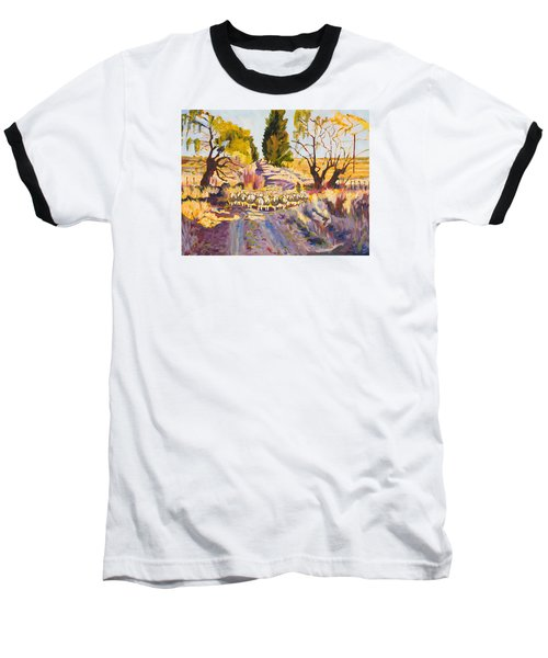 Sheep And Shepherd At Sunset Oil Painting Bertram Poole Baseball T-Shirt by Thomas Bertram POOLE