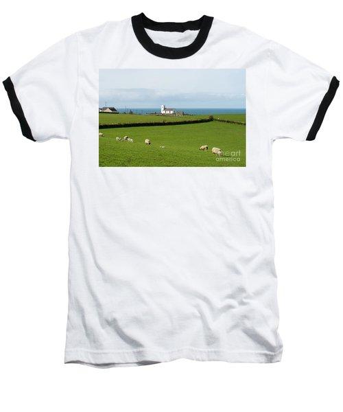 Baseball T-Shirt featuring the photograph Sheep Grazing On Irish Coastline by Juli Scalzi