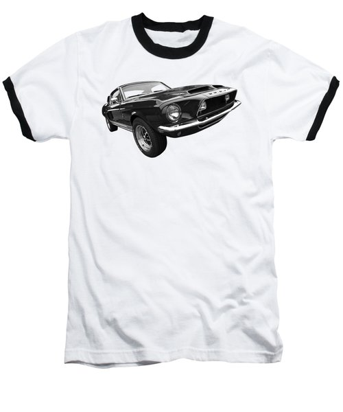 Shelby Gt500kr 1968 In Black And White Baseball T-Shirt by Gill Billington