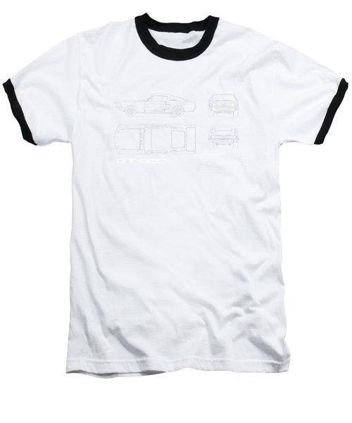 Shelby Mustang Gt500 Blueprint Baseball T-Shirt