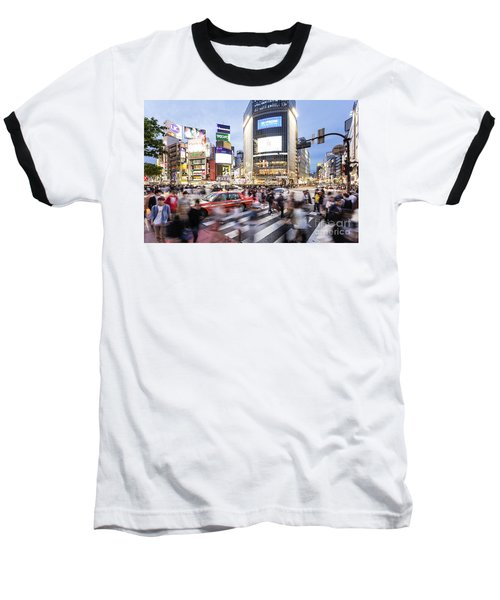 Shibuya Crossing At Night In Tokyo Baseball T-Shirt