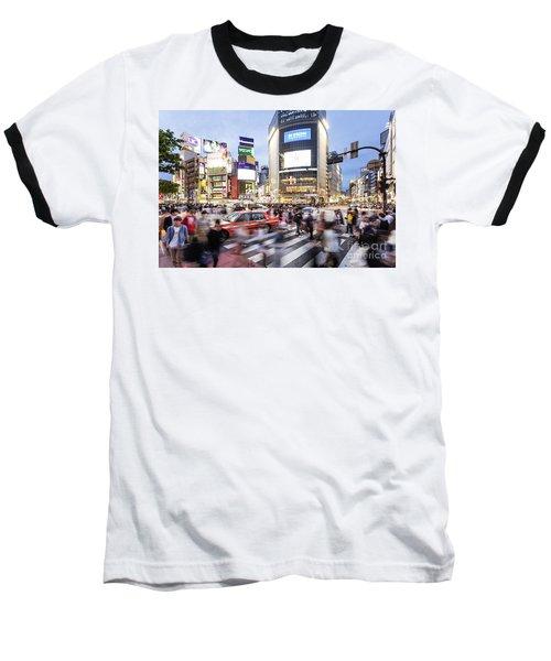 Shibuya Crossing At Night In Tokyo Baseball T-Shirt