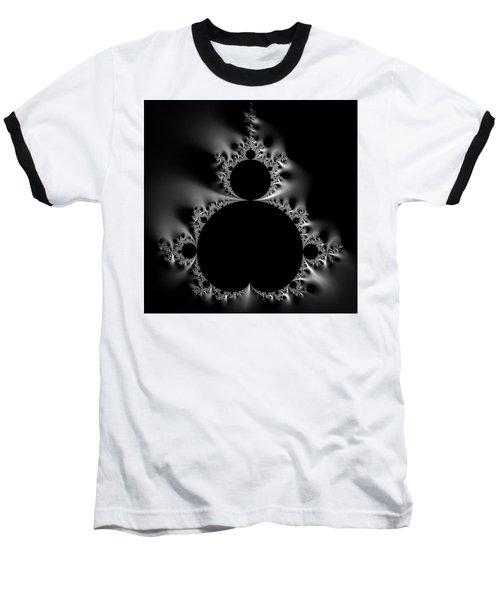 Shiny Cool Mandelbrot Set Black And White Baseball T-Shirt