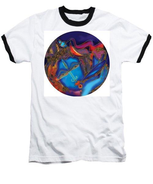 Shiva Blowing The Horn Baseball T-Shirt